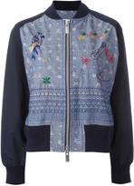 Sacai aloha chambray bomber jacket - women - Cotton - 2