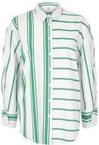 River Island Womens Green stripe print split sleeve shirt