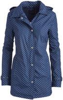 Weatherproof Ink Blue & White Polka Dot Hooded Raincoat