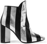 Pierre Hardy Belle Striped Watersnake Ankle Boots - Silver