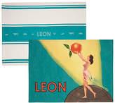 Leon Tea Towels, Lady and Stamp Design, Set of 2