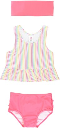 RuffleButts Rainbow Stripe Two-Piece Swimsuit & Head Wrap Set