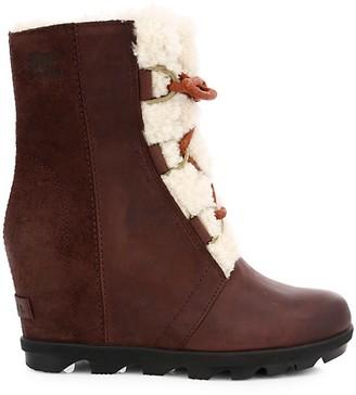 Sorel Joan Wedge II Shearling-Lined Leather Waterproof Boots