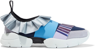 Emilio Pucci Appliqued Suede, Satin And Neoprene Sneakers