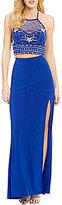 B. Darlin Illusion Beaded Halter Neck Top High-Waist ITY Skirt Two-Piece Long Dress