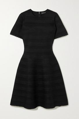 Oscar de la Renta Scalloped Ribbed Silk-blend Mini Dress - Black