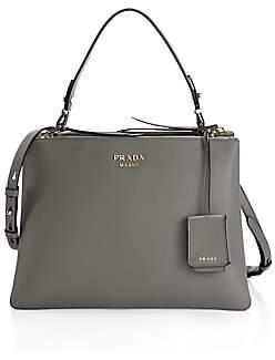 Prada Women's Large Deux Leather Top Handle Tote