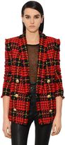 Balmain Double Breasted Tweed Long Blazer