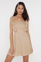 Nasty Gal Womens Frilled You Came Ruffle Linen Dress - Beige - 12, Beige