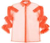 Marco De Vincenzo ruffled details sheer shirt - women - Polyester - 40