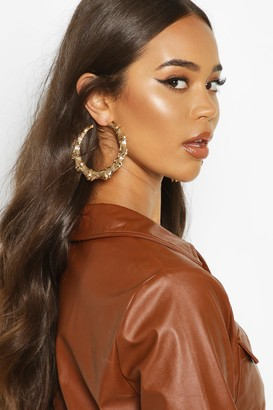 boohoo Bamboo Effect Oversized Hoop Earrings