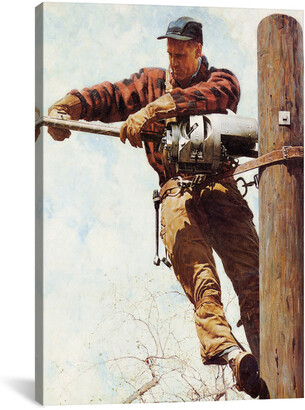 Rockwell Icanvasart The Lineman By Norman Canvas Reproduction