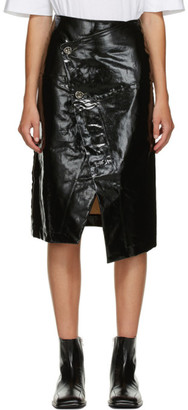 Marni Black Shiny Wrap Skirt