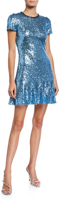 Jenny Packham Sequin Jewel-Neck Cap-Sleeve Mini Dress