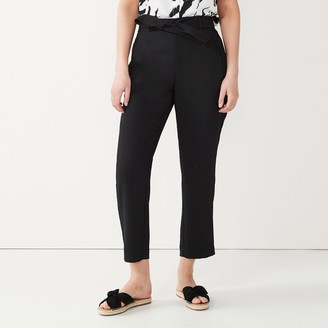 Nine West Women's Belted Tapered Ankle Pants