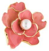 Kenneth Jay Lane Faux Pearl & Enamel Flower Cocktail Ring