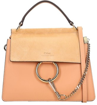Chloé Faye Small Shoulder Bag In Rose-pink Suede And Leather