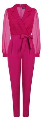 Dorothy Perkins Womens *Paper Dolls Magenta Collar Jumpsuit
