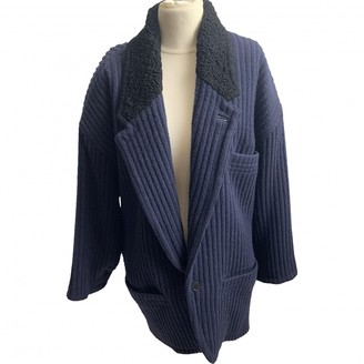 Gianni Versace Blue Wool Coat for Women Vintage