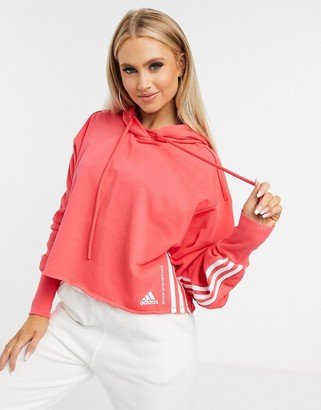 adidas Recycled cotton cropped hoodie in core pink