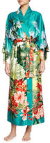 Natori Birds of Paradise Long Satin Robe, Freshwater