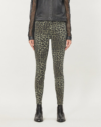 Good American Good Waist animal-print skinny high-rise stretch-cotton jeans