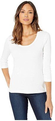 Lilla P 1X1 3/4 Sleeve Scoop Neck Tee (Black) Women's Clothing