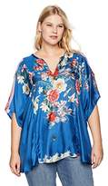 Johnny Was Women's Size Plus Short Sleeve Patterned Poncho Blouse