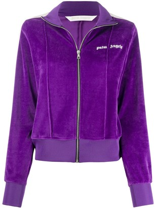 Palm Angels Chenille Fitted Track Jacket Purple Whi