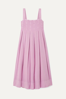 Hatch The Alice Pleated Shirred Cotton-voile Midi Dress - Lilac