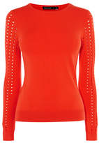 Karen Millen Red Knitted Crew Neck Jumper