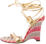 Cesare Paciotti Metallic Lace-Up Wedges