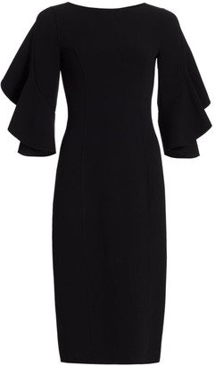 Michael Kors Stretch Wool Crepe Flutter-Sleeve Sheath Dress