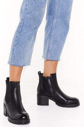 Nasty Gal Womens It's About to Get Cleated Faux Leather Boots - Black