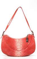 Stuart Weitzman Pink Embossed Leather Silver Tone Hardware Zipper Shoulder Bag