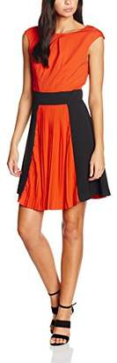 Wolfwhistle Wolf and Whistle Women's and Black Colour Block Pleat Dress