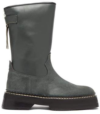 Eytys Tucson Square-toe Leather And Suede Boots - Womens - Dark Green