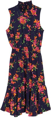 Nanette Lepore Floral Smocked Ruffle Midi Dress