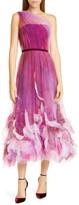 Marchesa One-Shoulder Tulle Cocktail Dress