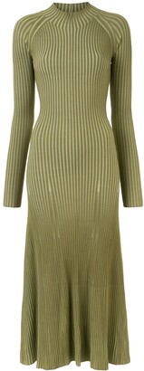 Dion Lee Ribbed Long-Sleeve Midi Dress