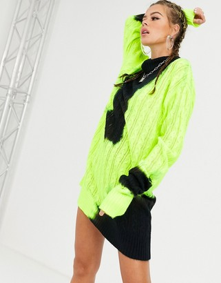Jaded London knitted high neck jumper dress in bleached neon-Green