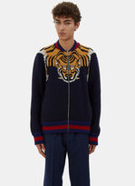 Gucci Men's Tiger Intarsia Knit Bomber Jacket In Navy