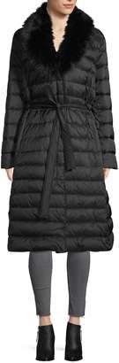 Tahari Puffer Down-Filled Faux Fur-Trim Coat