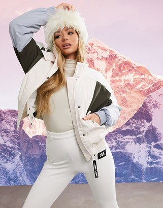 ASOS 4505 ski color block ski jacket in pastel