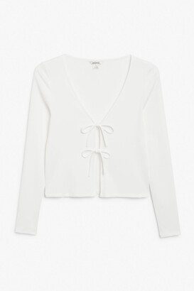 Monki Tie-front ribbed cardigan