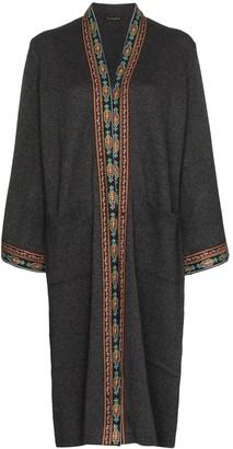Etro embroidered-trim long cardigan