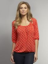 New York & Co. Printed Peasant Top with Patch Pocket