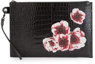 Longchamp Le Pliage Heritage Floral-Print Leather Pouch