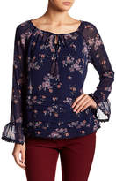 Jolt Floral Pleated Bell Sleeve Top