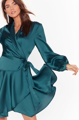 Nasty Gal Womens Satin Wrap Mini Dress with Ruffle Detailing - Teal